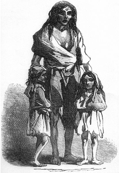Depiction of Bridget O'Donnel and her two children.