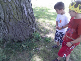 """Jamie and Ben (ages 4 and 6) looking for the """"treasure""""!"""
