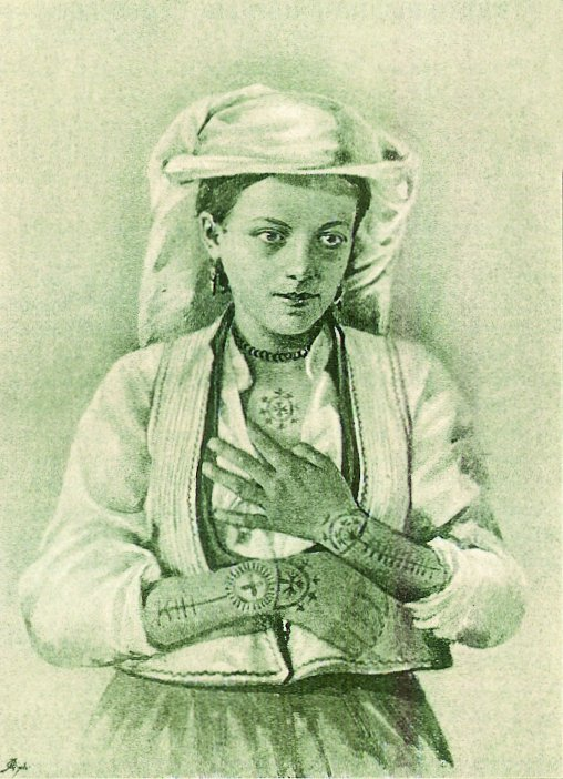 Living in fear, Croatian women tattooed the cross on arms and chest as protection from the Turks.  Women were often taken from families to work as servants and to bear children of the Beg (prince).