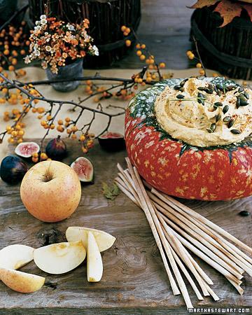 Serve dip in a hollowed out pumpkin squash