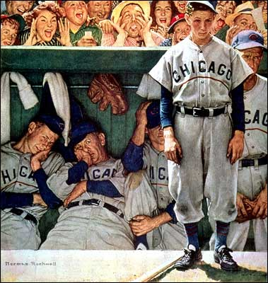 Norman Rockwell caught the cynicism, frustration, and hopefullness of Cubs fans in a famous illustration for The Saturday Evening Post.