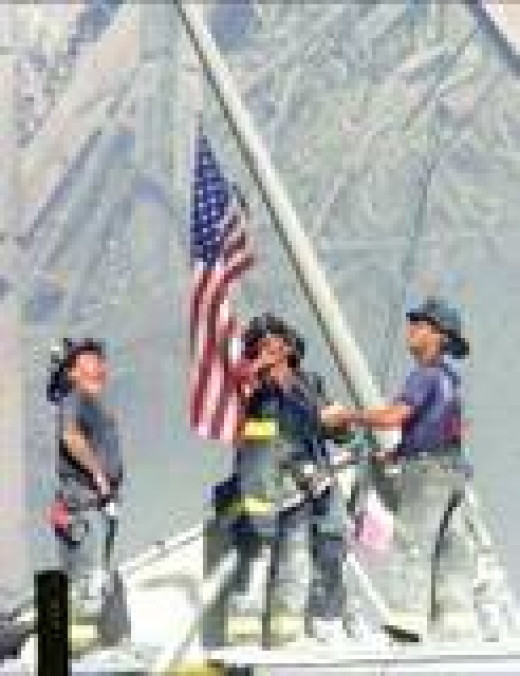 Firemen Raising the flag at ground zero