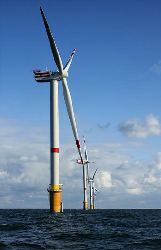 Modern offshore wind farm.