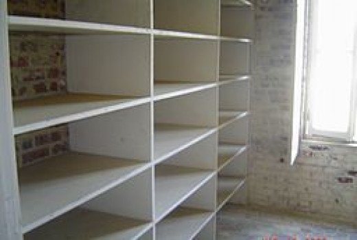 Start your pantry with a clean empty set of shelves.