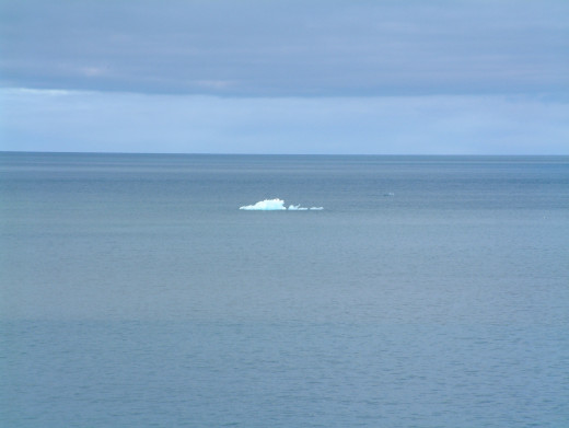 Last of the ice. A glistening blue ice 'berg' in the konigsfjord, Svalbard