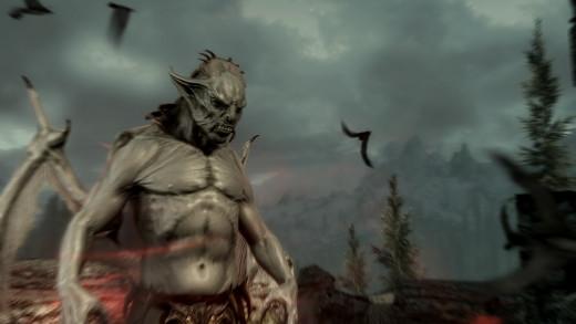 Screen shot of a Vampire Lord in Skyrim Dawnguard