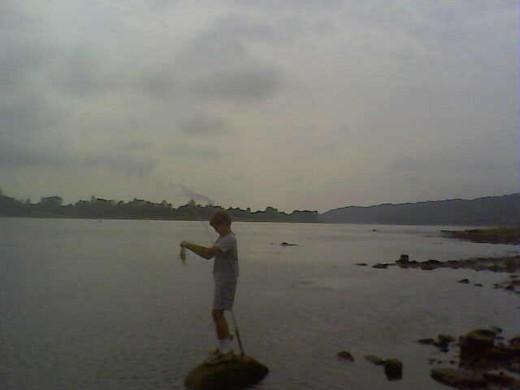 The big Ohio River  view downriver of Markland Dam as a wonderland for wildlife.