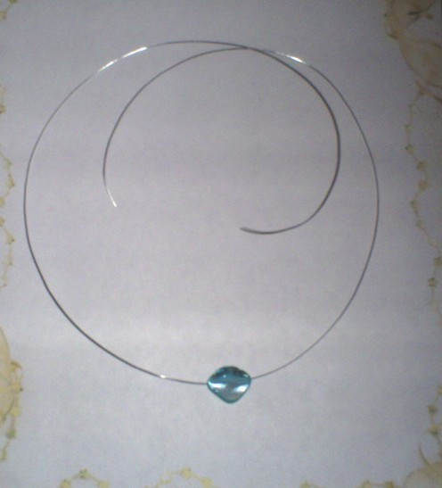 A blue shell bead will be used in place of a pendant for this necklace.