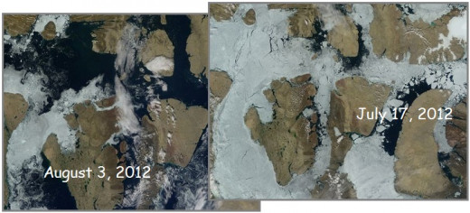 These stunning photos reveal the extent of the prolific ice melt going on in both the South and North Polar Regions.