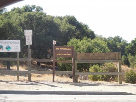 Montgomery Hill Park in San Jose CA - Entrance on Yerba Buena Road.