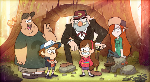 Soos, Dipper Pines, Grunkle Stan, Mabel Pines, and Wendy of Gravity Falls, Oregon.