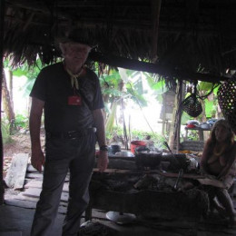 STEVE IN MAKESHIFT HOME IN CHOCO, WITH INDIGENOUS WOMAN