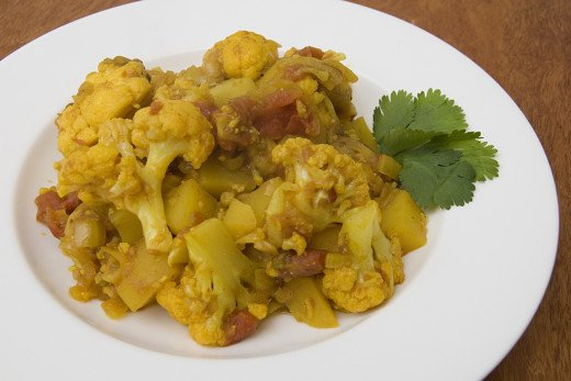 Aloo Gobi or Potato-Cauliflower - an Indian vegetable dish