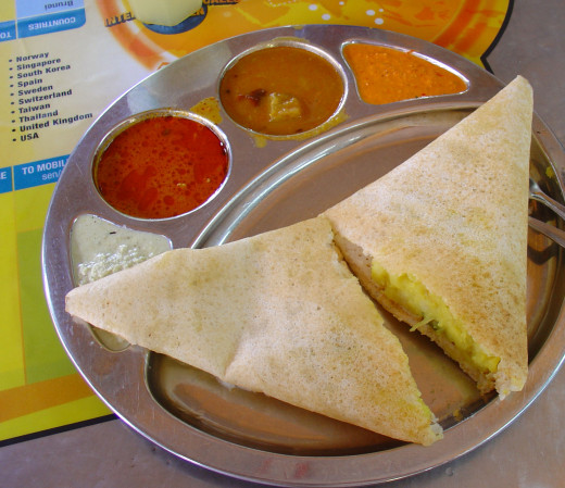 Masal Dosa - rice pancakes stuffed with spicy boiled potatoes
