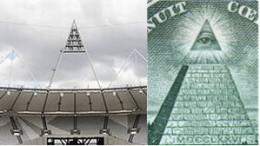 2012 Olympic Stadium light - exactly like pyramid and capstone on US dollar bill
