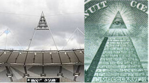 2012 Olympic Stadium light - exactly like pyramid and capstone on US dollar bill
