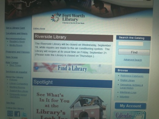 Photograph of Fort Worth Library website September 16, 2012