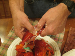 Crack the shell of the claw arm with your fingers or the crackers and remove the meat.