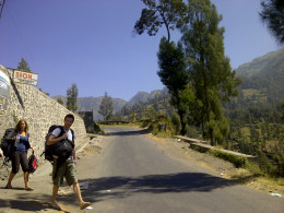 Climbing and winding road to Bromo.