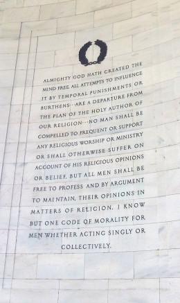 Thomas Jefferson opposed legislating morality.