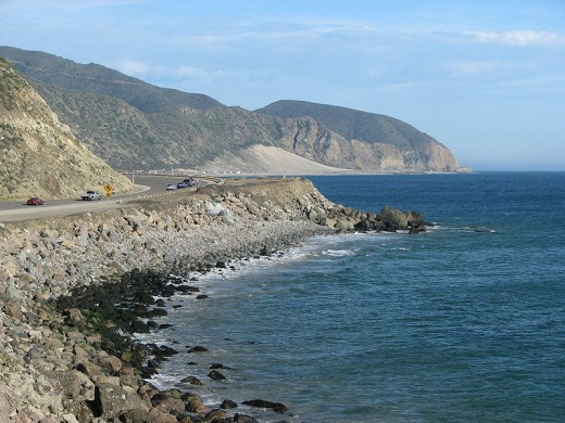 The coastline near the Santa Monica mountains on the southern California coast, near Point Mugu.
