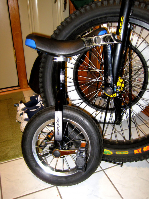 Newest and smallest unicycle in front.