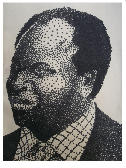 A portrait in dots - the most basic elementin Art and design