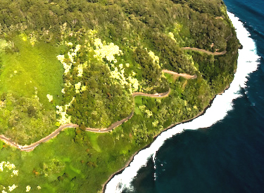 A beautiful aerial photo of the famous Hana Highway.