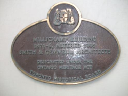 Historical plaque, Millichamp Building, 39 Adelaide Street East, Toronto