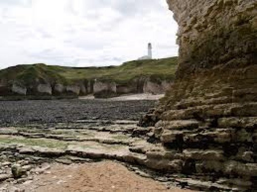 Selwick Bay near Flamborough - trace earth's geological progress on the 'diagrammatic' cliff faces