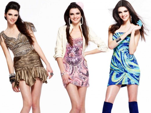 Kendall Jenner in Gold, Purple, and Blue Minidresses. How to Look Like Kendall Jenner.