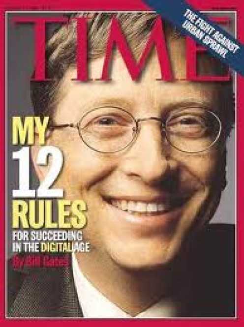 Bill Gates on Time Magazine. He has been named America's richest man many times. I hope everyone realizes how much money he gives away.