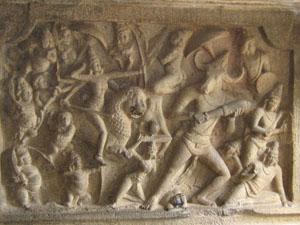 1. Goddess Durga fights with Mahishasura