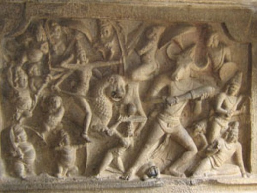 1. Goddess Durga fights with Mahishasura