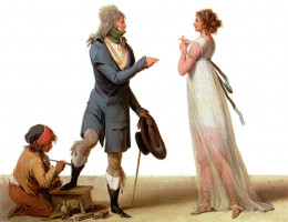 Contempt - This painting by Louis-Léopold Boilly appears to imply a business exchange between a wealthy gentlman and a prostitute, the prostitute shows disdain at the inadequacy of the financial offer presented by the gentleman.