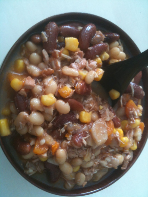 Finished two color bean chili