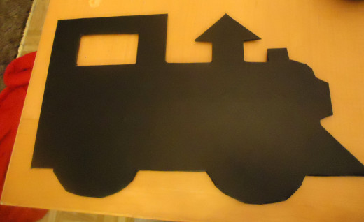 front of locomotive with chalkboard contact paper