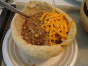 Supper!! Beef-Lentil Stew with some shredded cheddar cheese in a delicious, fresh-made bread bowl! My kids LOVED this when we served soups, stews and chilies during the cold weather months!