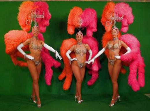 Three of the famous showgirls from the show Jubilee at Bally's in Las Vegas.