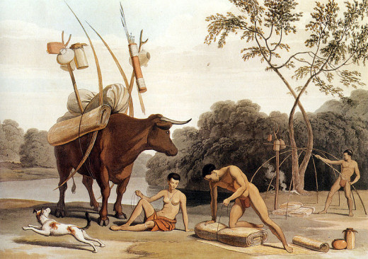 A Khoikhoi party about to move camp. Drawing by British artist Samuel Daniell