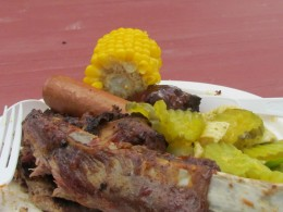 Corn on the cob, hotdogs, hamburgers, spareribs and a variety of salads were part of the barbeque on Cococay island in the Bahamas.