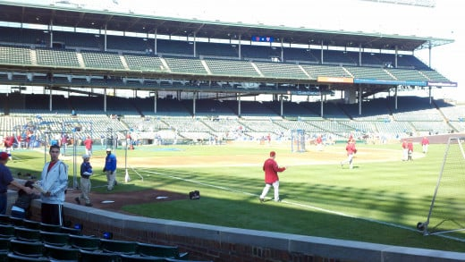 Players warming up at Wrigley Field
