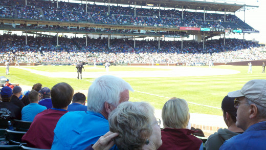 My view of the infield at Wrigley Field