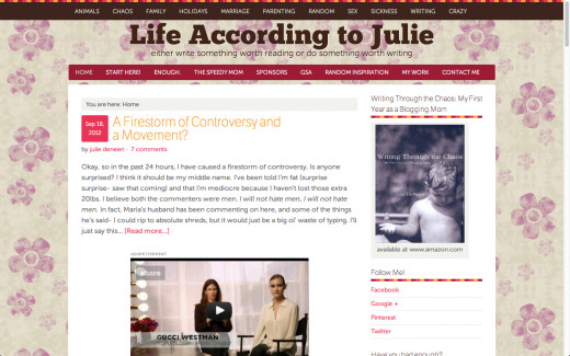 Life According to Julie Landing Page