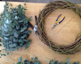 A few tools and common supplies are all that's needed for creating eucalyptus arrangements.