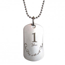 One Year Sobriety Dog Tag