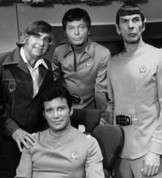 Gene Roddenberry, William Shatner, DeForest Kelley, and Leonard Nimoy