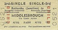 Battersby-Middlesbrough child single  3rd class ticket for less than a shilling (5p). The single fare for a child now (up to age 15) would be more like 400% of the cost!