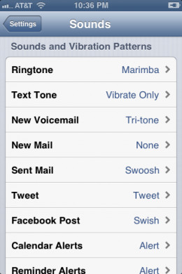 "The words ""Vibrate Only"" appear to the right of the Text Tone option in the Sounds and Vibration Patterns section."