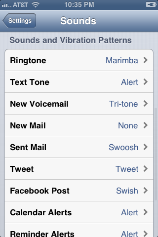 "Scroll down to the Sounds and Vibration Patterns section and then tap ""Text Tone."""